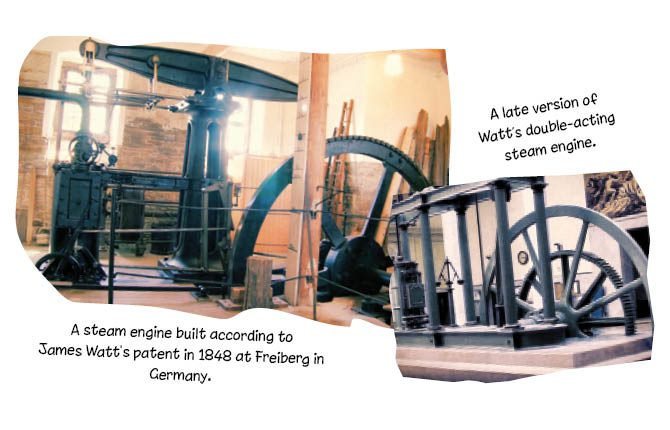 A steam engine built according to James Watt's patent in 1848 at Freiberg in Germany.  A late version of Watt's double-acting steam engine.