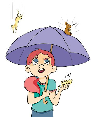 An image of the proverb it is raining cats and dogs.