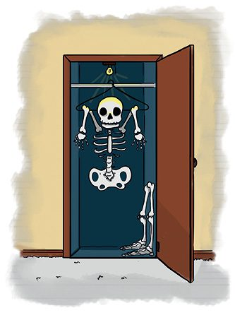 An image of the proverb a  skeleton in the closet.