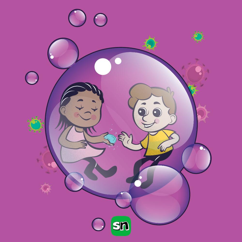 Kids washing hands soap bubble