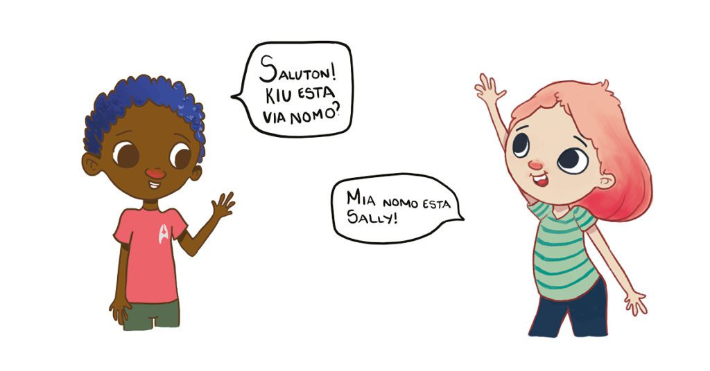 Sally and her friend greet each other using their own Conlang!