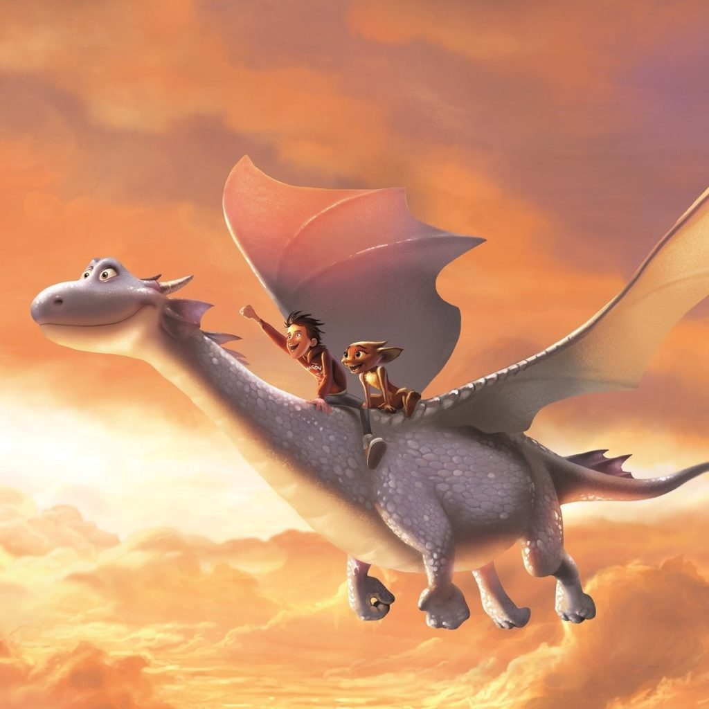 Ben and Sorrel ride Firedrake, the silver dragon, in a beautiful sunset