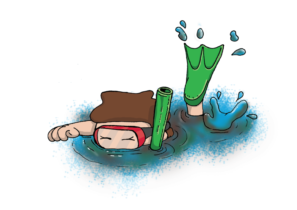 A boy swimming in the bog snorkelling competition
