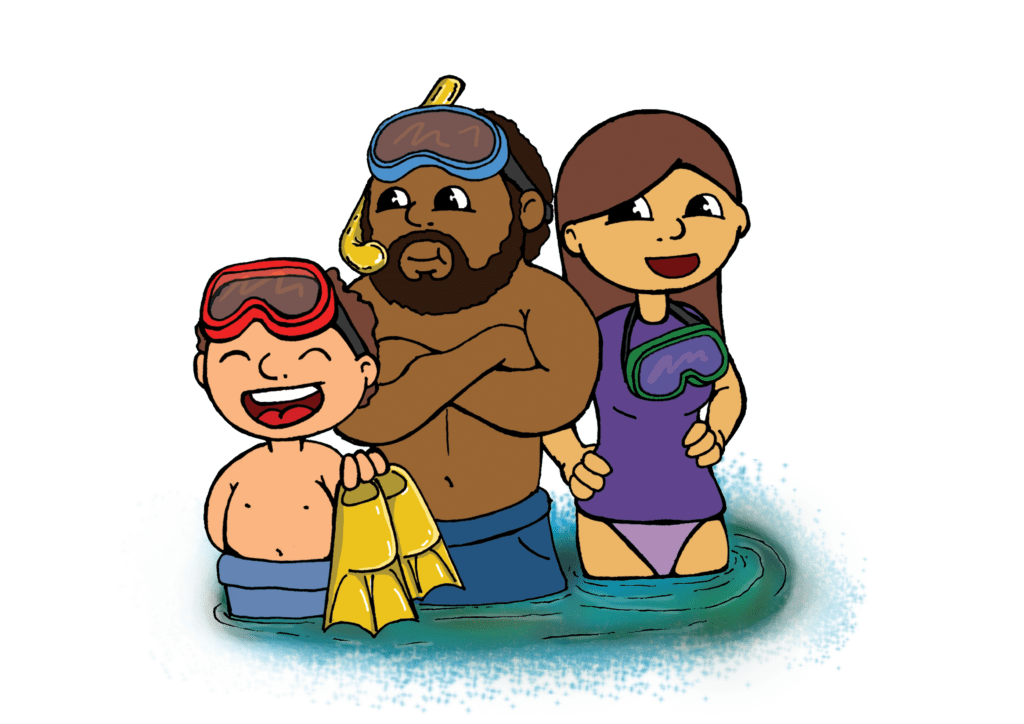 A group of people in their bog snorkelling costumes.