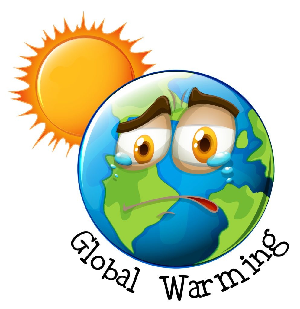 An illustration of earth with global warming