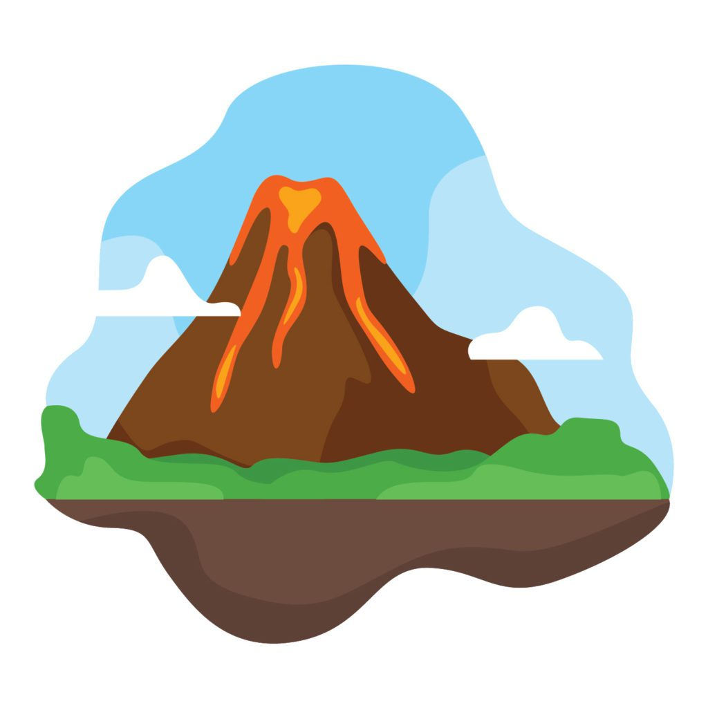 An illustration of a volcano