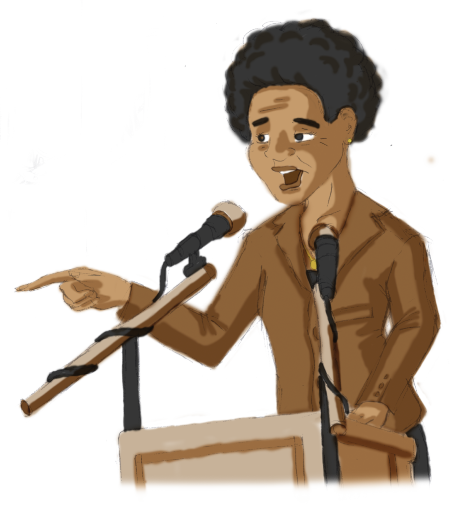 Drawing of Albertina Sisulu delivering a speech