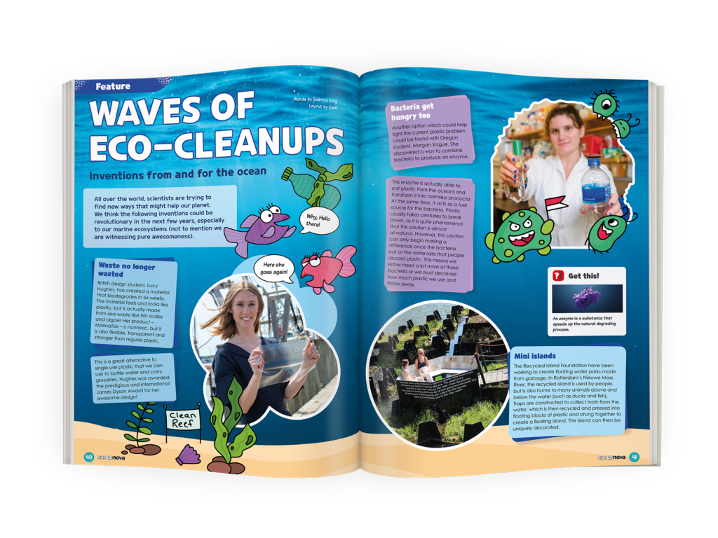 Mockup of Eco-CleanUps feature from Supernova Magazine Vol 9.6