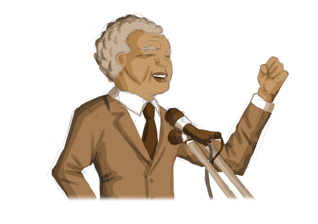 Drawing of Nelson Rolihlahla Mandela delivering a speech as president of South Africa